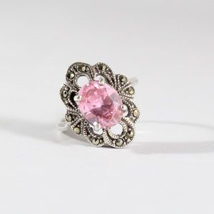 Jewelry - Sterling Silver Marcasite Pink CZ Ring 7.5